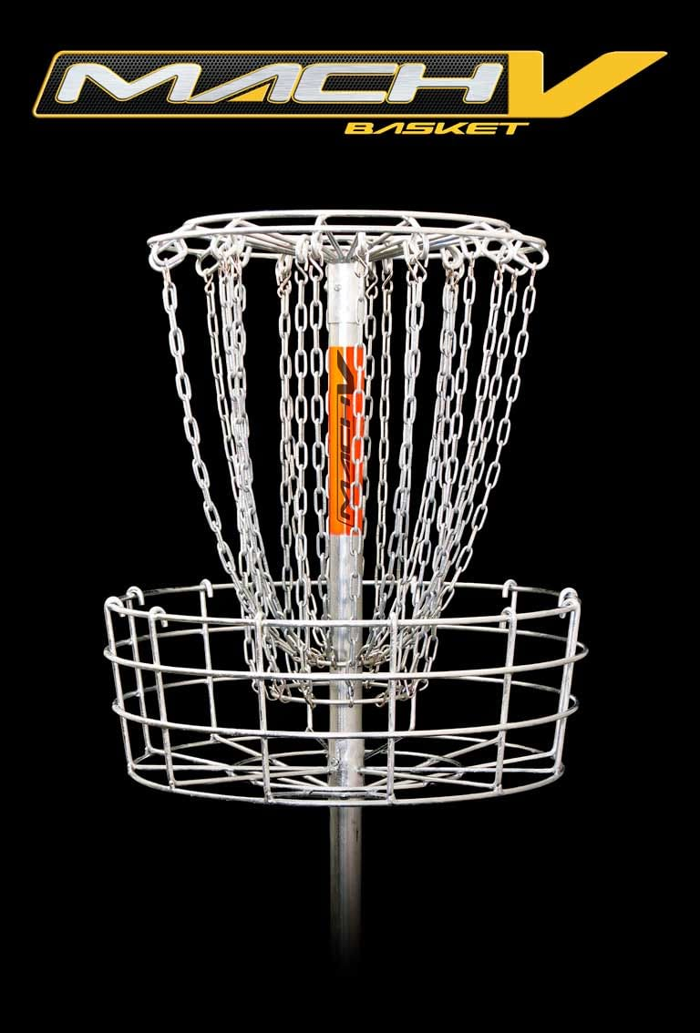 DGA Mach 5 Disc Golf Basket is the standard high-performance disc golf target for tournament play and park and recreation installations.