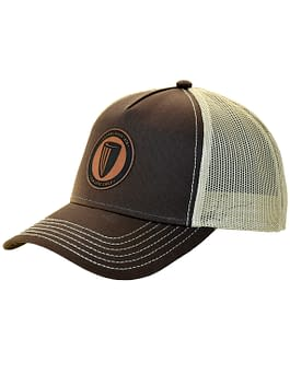 Leather Patch Curved Bill Mesh Snapback Cap