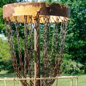 Rusted Disc Golf Basket