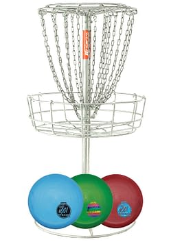Mach 2 Portable Disc Golf Basket Stone Steady BL Combo Set