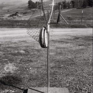 One of Ed Headrick early disc catching devices for testing out his ideas before he thought about using chain to stop discs and using his welding skills to build the first target with chain.