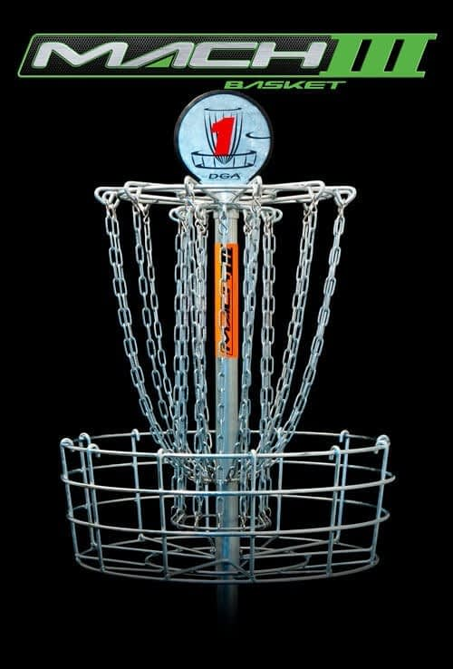 DGA Mach 3 Disc Golf Basket is the most recognized classic disc golf target installed on more courses than any other disc golf basket and a favorite by many.