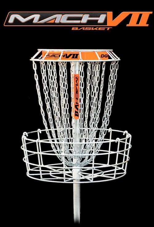 DGA Mach 7 Disc Golf Basket provides visibility without interference with unequaled performance from a 28 chain basket
