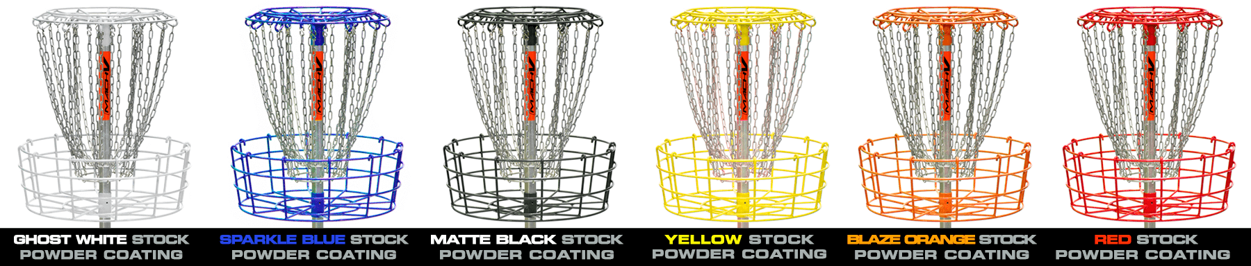 Stock color and custom powder coated finishes all applied over 100% hot-dipped galvanized DGA Mach baskets