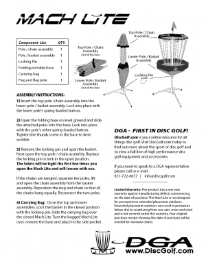 DGA Mach Lite Portable Disc Golf Target Assembly Instructions